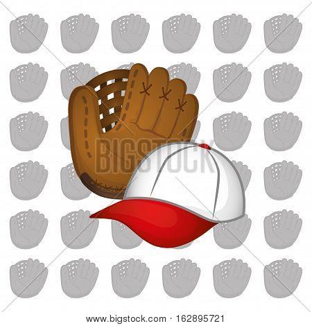 baseball hat leather glove icon vector illustration graphic design