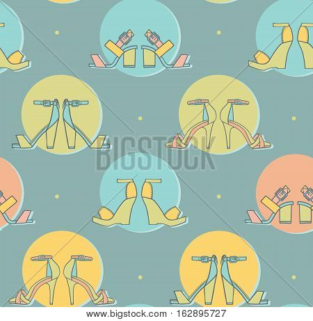 Vector illustration with sandals pairs in colorful circles on blue background in seamless pattern design. Hand drawn texture good for fashion and footwear design tillable creative in pastel colors.