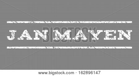 Jan Mayen watermark stamp. Text tag between horizontal parallel lines with grunge design style. Rubber seal stamp with unclean texture. Vector white color ink imprint on a gray background. poster