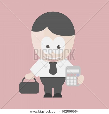 Successful businessman holding a calculator and a bag on a red background