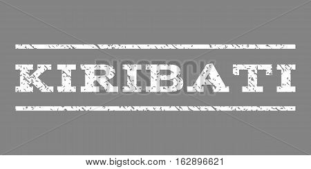Kiribati watermark stamp. Text caption between horizontal parallel lines with grunge design style. Rubber seal stamp with dust texture. Vector white color ink imprint on a gray background.