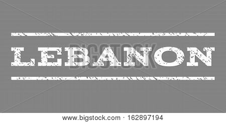 Lebanon watermark stamp. Text caption between horizontal parallel lines with grunge design style. Rubber seal stamp with dust texture. Vector white color ink imprint on a gray background.