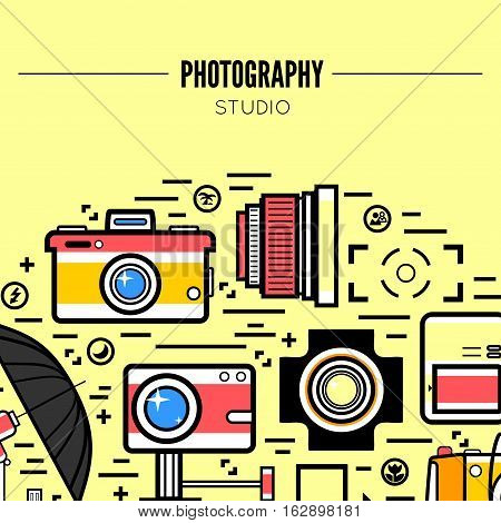Photographer or photostudio concept design illustration. Workspace with camera, umbrella, film, lens, photo, tripod. Flat design vector