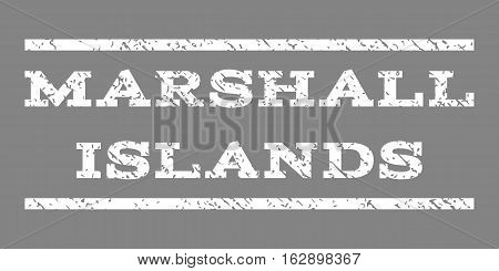 Marshall Islands watermark stamp. Text caption between horizontal parallel lines with grunge design style. Rubber seal stamp with unclean texture. Vector white color ink imprint on a gray background.