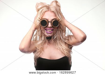 Cute Girl Smiling Wearing Steam Punk Goggles And Aviation