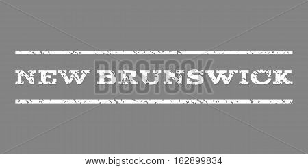 New Brunswick watermark stamp. Text tag between horizontal parallel lines with grunge design style. Rubber seal stamp with scratched texture. Vector white color ink imprint on a gray background.