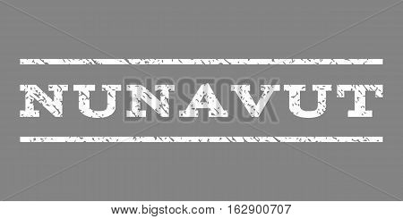 Nunavut watermark stamp. Text caption between horizontal parallel lines with grunge design style. Rubber seal stamp with dust texture. Vector white color ink imprint on a gray background.
