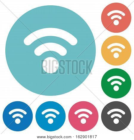 Radio signal flat white icons on round color backgrounds