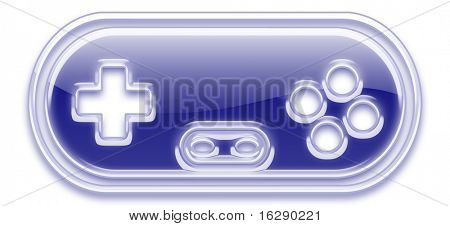 gaming joy pad controller symbol in shiny glass or plastic