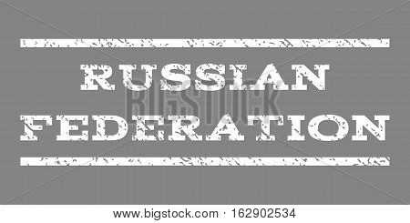 Russian Federation watermark stamp. Text tag between horizontal parallel lines with grunge design style. Rubber seal stamp with dust texture. Vector white color ink imprint on a gray background.