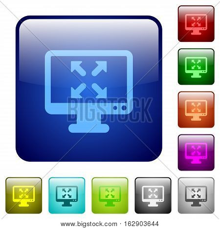 Fullscreen view icons in rounded square color glossy button set