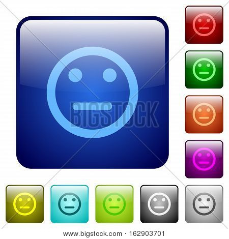 Neutral emoticon icons in rounded square color glossy button set