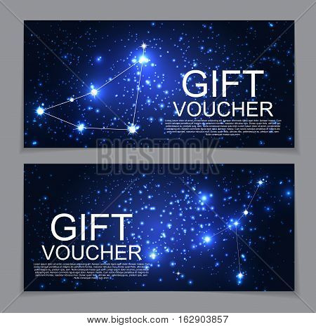 Gift Voucher Template with Set of Symbol Zodiac Sign. Discount Coupon. Vector Illustration. EPS10