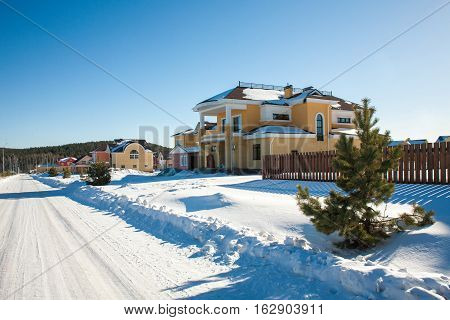 Newly Built Suburban Houses during winter time