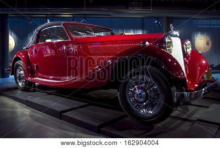 RIGA LATVIA - OCTOBER 16: Retro car of the year 1937 MERCEDES-BENZ 320 Riga Motor Museum October 16 2016 in Riga Latvia