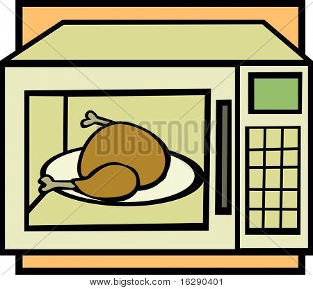 microwave oven with chicken or turkey