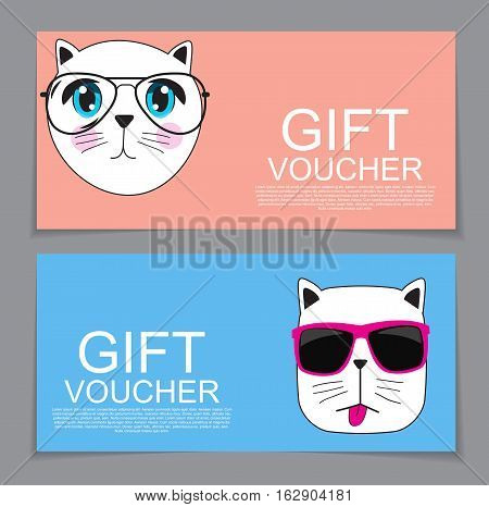 Gift Voucher Template with Cute Hand drawn Cat Discount Coupon Vector Illustration. EPS10