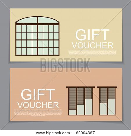 Gift Voucher Template with variation of Windows Discount Coupon Vector Illustration EPS10