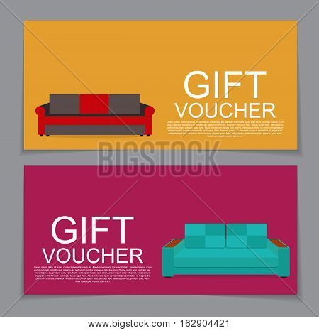 Gift Voucher Template with variation of Sofa Discount Coupon Vector Illustration. EPS10