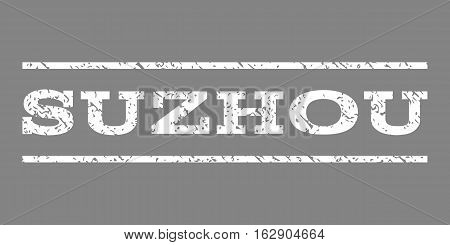 Suzhou watermark stamp. Text tag between horizontal parallel lines with grunge design style. Rubber seal stamp with dirty texture. Vector white color ink imprint on a gray background.