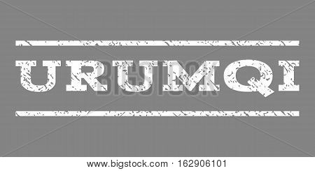 Urumqi watermark stamp. Text tag between horizontal parallel lines with grunge design style. Rubber seal stamp with unclean texture. Vector white color ink imprint on a gray background. poster