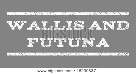 Wallis and Futuna watermark stamp. Text tag between horizontal parallel lines with grunge design style. Rubber seal stamp with dust texture. Vector white color ink imprint on a gray background.