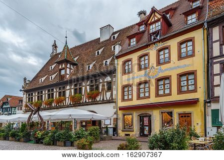 Street with historical houses in Obernai Alsace France