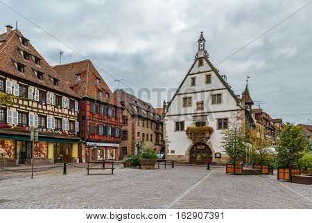 Historic houses on main square in Obernai Alsace France