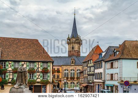 view of Obernai with Kapellturm tower Alsace France