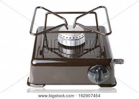 Gas desktop stove for one subject on a white background