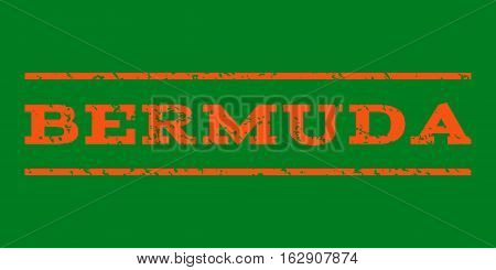 Bermuda watermark stamp. Text tag between horizontal parallel lines with grunge design style. Rubber seal stamp with scratched texture. Vector orange color ink imprint on a green background.