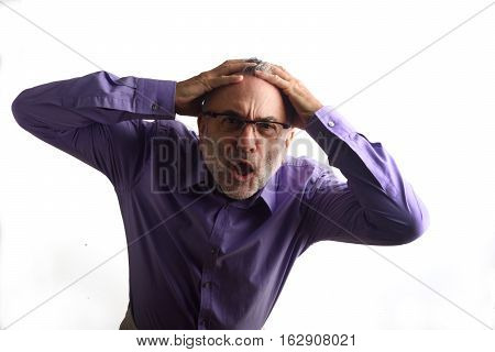 desperate middle man with a white background