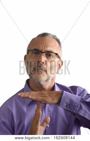 man with making time out gesture with a white background