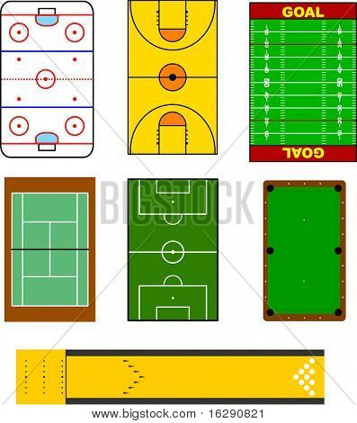 colorful sport fields and playing areas