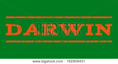 Darwin watermark stamp. Text caption between horizontal parallel lines with grunge design style. Rubber seal stamp with dust texture. Vector orange color ink imprint on a green background.