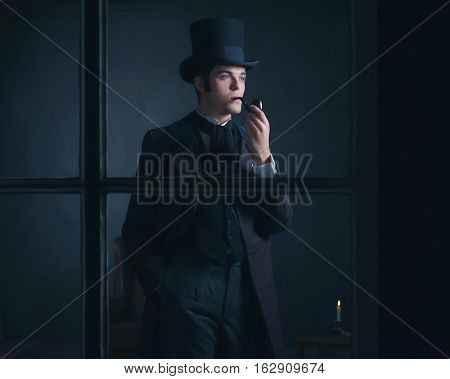 Dickens Style Man Smoking Pipe Looking Out Window.