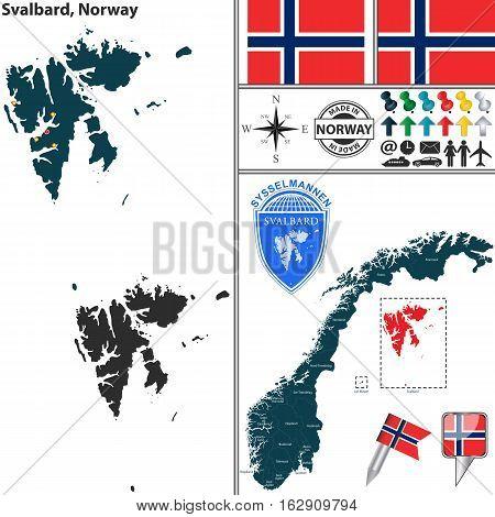 Map Of Svalbard, Norway