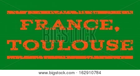 France, Toulouse watermark stamp. Text caption between horizontal parallel lines with grunge design style. Rubber seal stamp with unclean texture.