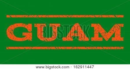 Guam watermark stamp. Text tag between horizontal parallel lines with grunge design style. Rubber seal stamp with scratched texture. Vector orange color ink imprint on a green background.