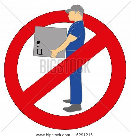 man lifts the load. sign ban. vector illustration.