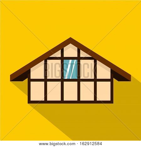 German house icon. Flat illustration of German house vector icon for web isolated on yellow background
