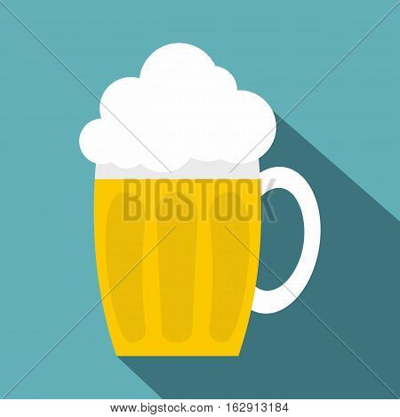 Glass mug of beer icon. Flat illustration of glass mug of beer vector icon for web isolated on baby blue background