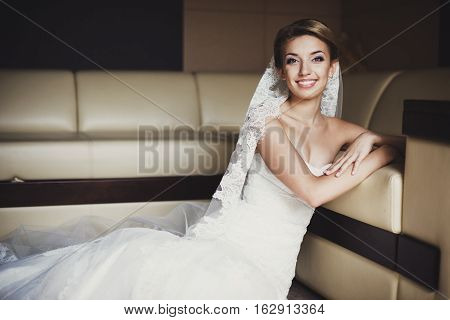 Bride: Laughing Bride on Floor, fashion wedding