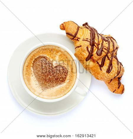 coffee and croissant isolated on a white background