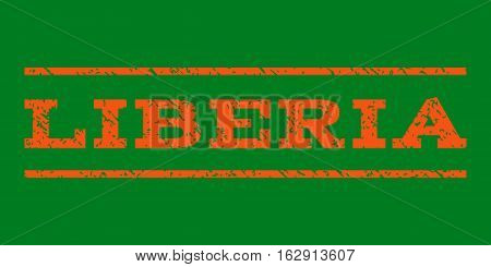Liberia watermark stamp. Text caption between horizontal parallel lines with grunge design style. Rubber seal stamp with dust texture. Vector orange color ink imprint on a green background.