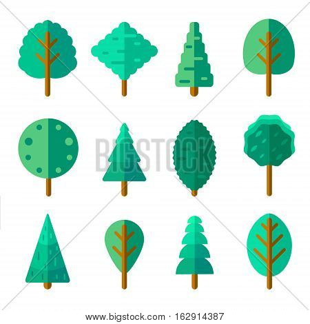 Set of trees in trendy flat style. Green foliage forest elements for your landscape design. Perennial plants of various species with branches and leaves. Cartoon woods isolated on white.
