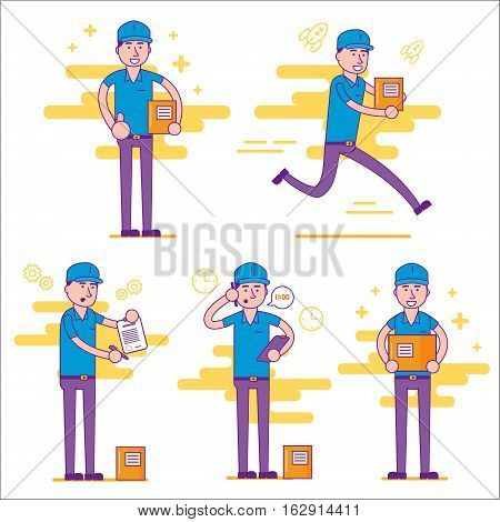 Set of logistics company courier or delivery man in various positions. Postman or post office worker delivering mailboxes. Vector flat cartoon illustration.