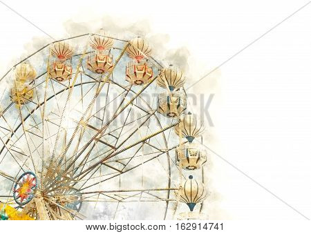 Ferris wheel watercolor effect image on the white background