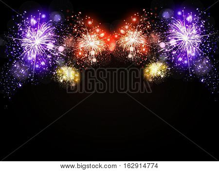 Realistic fireworks exploding night sky easy all editable