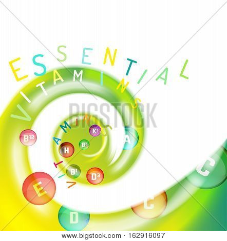 Essential vitamin complex. Creative background with different vitamins in glossy pills flying in a colourful swirl. Vector illustration in bright colours. Medical, dietary and pharmaceutical image.
